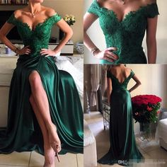 Sexy Prom Gowns,Off the shoulder Lace Prom Dress,Long Hunter Green Slit Lace Evening Dress,Modest Formal Dress MT20185471