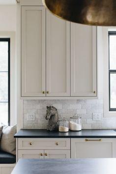 Kitchen Cabinet Styles, Painting Kitchen Cabinets, Kitchen Cabinetry, Shaker Style Kitchen Cabinets, Updated Kitchen, Smitten Kitchen, Revere Pewter Kitchen, Benjamin Moore Kitchen, Revere Pewter Benjamin Moore