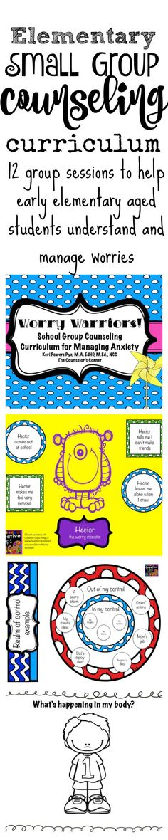 Worry Warriors Small Group Counseling Curriculum for early elementary-aged students from The Counselor's Corner