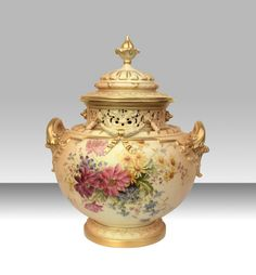 Magnificent Large Royal Worcester Antique Bow Vase complete with Original Cover  (England)