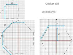 Gabarit pour faire une quaker ball Il faut broder 12 carrés identiques en taille, 8 hexagones identiques en taille et 6 octogones identiques en taille