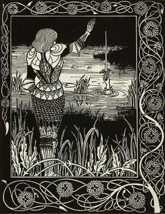 Aubrey Beardsley - How Sir Bedivere Cast the Sword Excalibur into the Water, by Aubrey Beardsley (1894) via Wikipedia