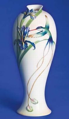 Franz Porcelain Long Tail Hummingbird Tall Vase