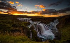 Reykjafoss - Not so well known waterfall in north Iceland. There is a hot spring…