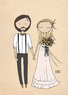 wedding portrait wedding anniversary gift by Blankaillustration, £60.00