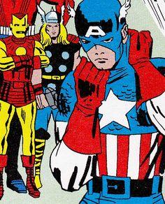 Avengers by Jack Kirby Marvel Comic Character, Comic Book Characters, Comic Books Art, Comic Art, Marvel Dc Comics, Marvel Avengers, Captain America, Avengers Universe, Jack Kirby Art