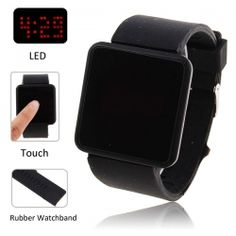 $7.15 Nice Unisex Touch Screen Red Light LED Digital Watch with Black Silicone Watchband