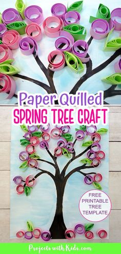 This contains: Paper quilled spring tree craft for kids to make. Spring Arts And Crafts, Spring Art Projects, Summer Crafts, Spring Kids Craft, Teen Arts And Crafts, Spring Toddler Crafts, Sand Crafts, Tree Crafts, Flower Crafts