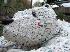 Sculpture made from recycled carrier bags, at the Eden Project near St Austell, Cornwall, UK.