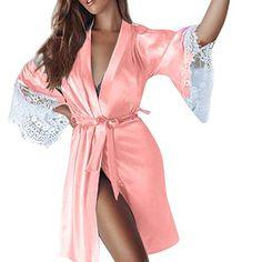 48e1803e52ce SamMoSon Donna Sexy Kimono di Seta Dressing Babydoll Lace Lingerie Cintura  da Bagno Robe da Notte