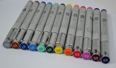 Copic Multiliner SP Pens: the best, refillable with a removable tip. In 12 colours with a 0.3 mm tip and 9 penwidths in black (not counting the brush pens). Waterproof pigment ink.