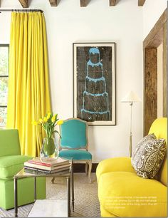 Lovely, eclectic living room with pops of yellow, green and turquoise. | Eleanor Cummings