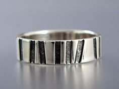 Aspen Forest Ring Tree Trunk Striped 6mm Wide by LichenAndLychee