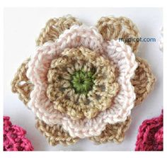 ergahandmade: Crochet Flower + Diagram + Free Pattern Step By Step