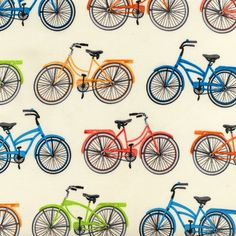 Robert Kaufman Fabric Everyday Favorites Bikes Bicycles Vintage Cruisers Quilting Sewing Craft by Mary Lake Thompson