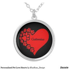 Personalized Pet Love Hearts Silver Plated Necklace Black Felt, Love Heart, Colorful Backgrounds, Silver Plate, Plating, Coin Purse, Hearts, Sterling Silver