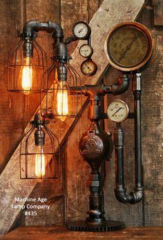 Steampunk Industrial, Railroad/Train Steam Gauge Lamp, #435