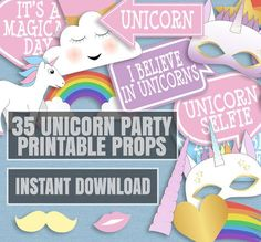 35 Unicorn Themed Party Photo Booth Props, Unicorn Party props, rainbows and unicorn party decor, photobooth unicorn party, instant download by YouGrewPrintables on Etsy https://www.etsy.com/listing/476681105/35-unicorn-themed-party-photo-booth