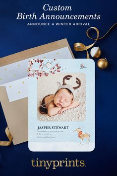 Share your joy with exquisite birth announcements that double as keepsakes. Customize your baby's details and include a photo on luxe paper for enduring style.
