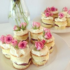 Mini naked sponge cakes with nutella & whipped cream pink roses