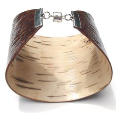 Birch bark cuff bracelet, Cacao III.  Like the shape... make out of leather instead.