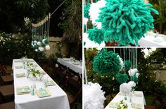 Green and White Baby shower for a boy