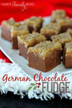 German Chocolate Fudge from favfamilyrecipes.com- this looks amazing!