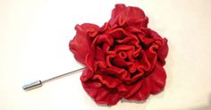 Brooch red rose leather brooch Men's Flower Lapel Pin by forchild