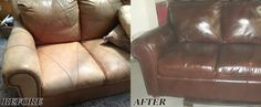 This sofa and loveseat had become worn, dried out, and faded. Not only were we able to restore these pieces, but our customer requested a color change. The results of this #leatherrestoration project came out beautifully.