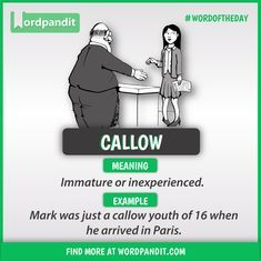 Meaning of Callow explained through a picture. Callow means 'Immature or inexperienced' Interesting English Words, Learn English Words, English Phrases, English Idioms, English Lessons, French Lessons, Spanish Lessons, Teaching Spanish, Good Vocabulary Words