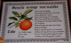Seville Orange Marmalade Recipe ~ Cross Stitch Chart & Blackwork Pattern