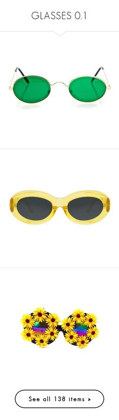 """""""GLASSES 0.1"""" by palemoonlight-x ❤ liked on Polyvore featuring sunglasses, accessories, eyewear, green sunglasses, round eyewear, nose pads glasses, round sunnies, vintage style sunglasses, yellow glasses and dries van noten"""