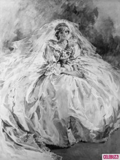 Princess Diana Wedding Portrait.  Little bit of history.....from what I understand Prince Charles has a small framed version of this portrait still in his house. Makes you wonder.