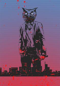 Hotline Miami by B-trndl, owl mask, fan art digital