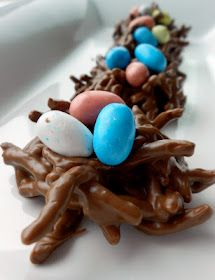 No-Bake Chocolate Birds' Nests. I think the kids would really like making these!