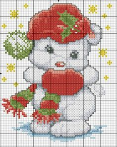 Free Biscornu Christmas Polar Bear Ornament ... no color chart available, just use the pattern chart as your color guide.. or choose your own colors...  | Visit manualidades.facilisimo.com