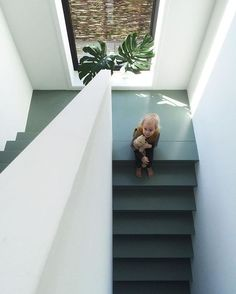 staircase concrete painted with farrowandball castle grey Painted Staircases, Painted Stairs, Wooden Stairs, Basement Stairs, House Stairs, Loft House, Building Stairs, Concrete Stairs, Painting Concrete