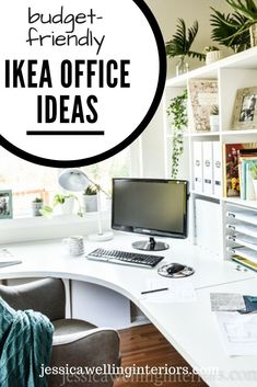Steal these easy and inexpensive Ikea office ideas! From a desk hack, to Skadis pegboard, to a Kallax bookshelf as a room divider, this home office has it all! Ikea Home Office, Home Office Chairs, Home Office Organization, Home Office Space, Home Office Design, Home Office Furniture, Pipe Furniture, Ikea Office Hack, Furniture Design