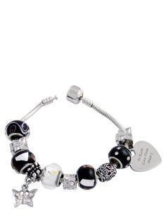 Personalised Heart Charm Bracelet Black   very.co.uk
