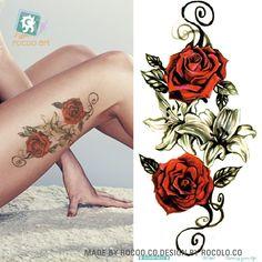 QC-667/20X10 cm Lange Bunte Hohe Lösung Body Art Red Rose Blumen Kreis Design Temporäre Gefälschte Flash-Tatoo Aufkleber Taty
