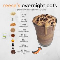 Healthy Recipes Are you a Reese's Peanut Butter Cup fan?⁠ ⁠ Since the snickers overnight oats - Health and Nutrition Easy Smoothie Recipes, Easy Smoothies, Oats Recipes, Vegan Recipes, Snack Recipes, Cooking Recipes, Green Smoothies, Smoothies With Flax Seed, Smoothies With Oats