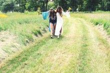 girls walking the field
