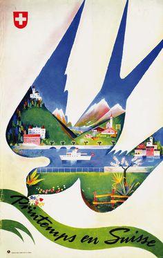Printemps en Suisse. Frühling in der Schweiz. Primavera in Svizzera. Spring in Switzerland. Franco Barberis. 1942.
