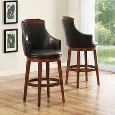 @Overstock - Elche 29-inch Walnut Swivel Chairs (Set of 2) - Transitional aesthetic meets modern lines in the casually elegant Elche Collection chairs set. These dark brown bi-cast vinyl chairs are finished with walnut burnished color and feature a 360-degree swivel design.    http://www.overstock.com/Home-Garden/Elche-29-inch-Walnut-Swivel-Chairs-Set-of-2/6842605/product.html?CID=214117  $299.99