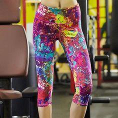 Newly Women Yoga Pants Fitness Sports Leggings Elastic Printing Tights For Female Impressionist Slim Running Full Plus Size 2017
