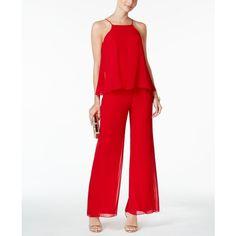 Msk Tiered Halter Jumpsuit ($99) ❤ liked on Polyvore featuring jumpsuits, red, white jumpsuit, halter jumpsuit, formal jumpsuits, halter tops and red jumpsuit