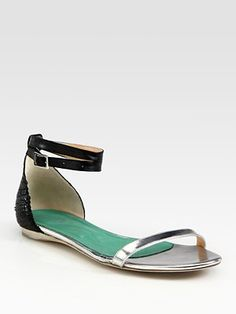 Tibi - Amber Mixed-Media Leather Colorblock Gladiator Sandals - Saks.com