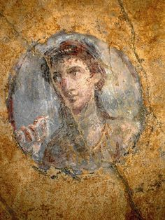 Fresco. Pompeian girl in a rondel, before 79AD. From a cubiculum in the House of the Golden Cupids, Pompeii. Emplacement: CASA AMORINI DORATI, POMPEII, ITALIA