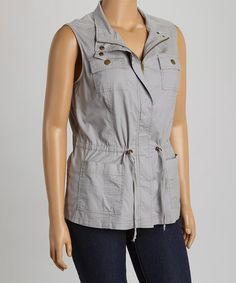 Look what I found on #zulily! Gray Drawstring Military Vest - Plus by Live A Little #zulilyfinds