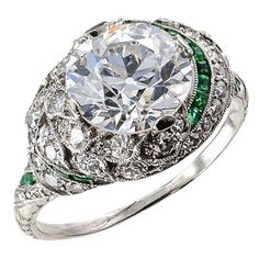 Art Deco 2.61 Carats Old European-Cut Diamond Platinum Engagement Ring   From a unique collection of vintage engagement rings at https://www.1stdibs.com/jewelry/rings/engagement-rings/